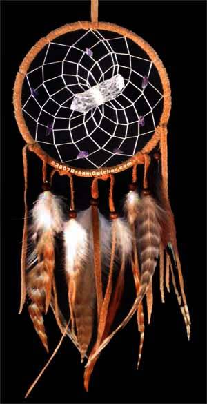VS13 - Brown Dream Catcher with Quartz Crystal and Amethyst Stone