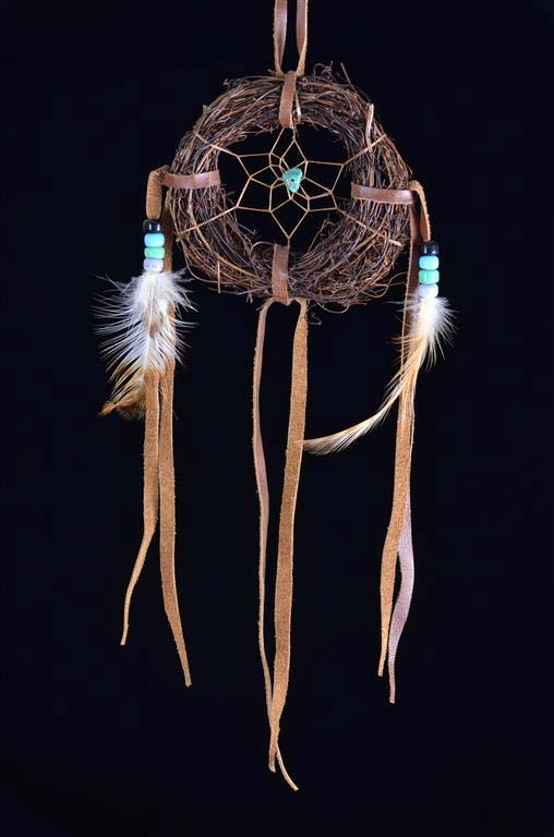 4 Inch Navajo Angel Hair Vine Dream Catcher with Turquoise  Stone