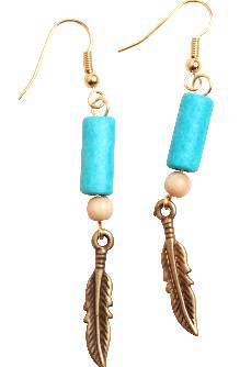 Hanging Feather  Earrings with Turquoise Hair Pipe Bead