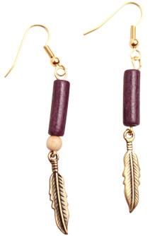 Hanging Feather Earrings with Purple Hair Pipe Bead