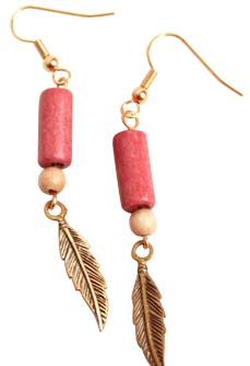 Hanging Feather Earrings with Pink Hair Pipe Bead