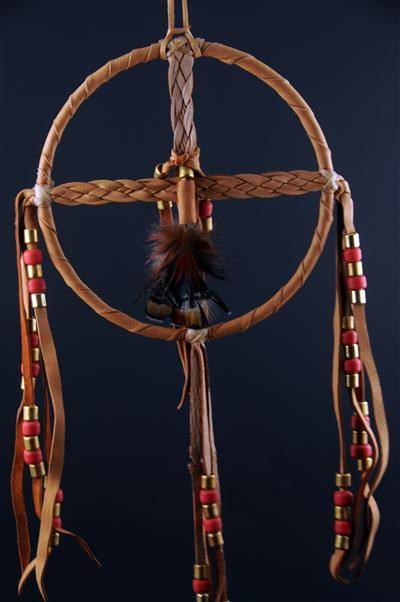 Braided Medicine Wheel with Red Beads