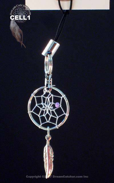 Dream Catcher Cell phone charm  with colored bead