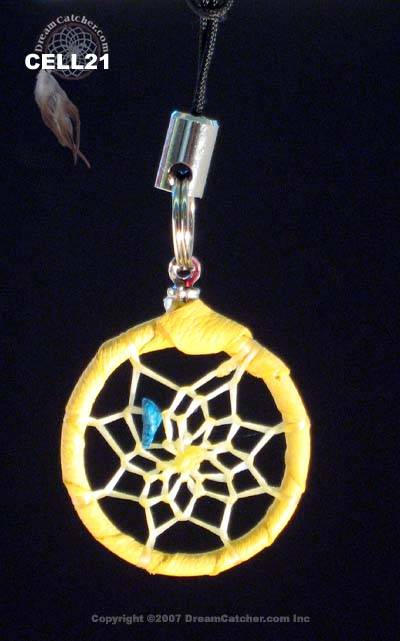 Dreamcatcher cell phone charm with turquoise chip