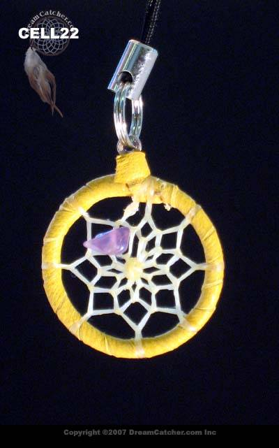 Dreamcatcher cell charm phone with Amethyst chip