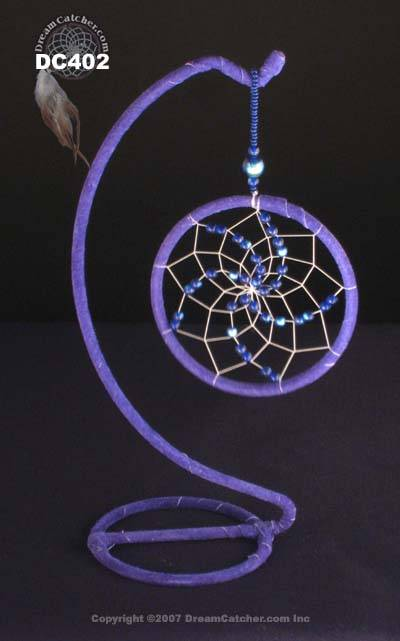 Blue crystal Dreamcatcher with stand