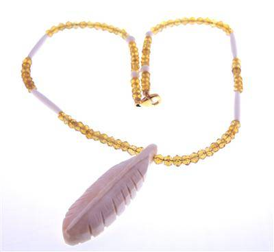 Hand Carved Moose Bone Feather Necklace Glass Beads