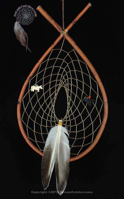 Authentic Red Willow  Tee Pee Dream Catcher With  Horse and  Raven