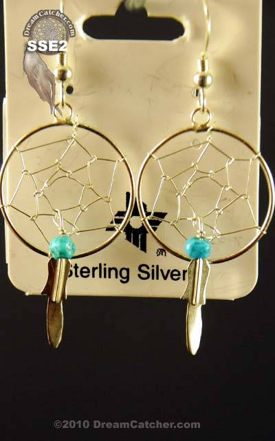 Sterling Silver Dream Catcher Earrings with turquoise chip (1 inch)