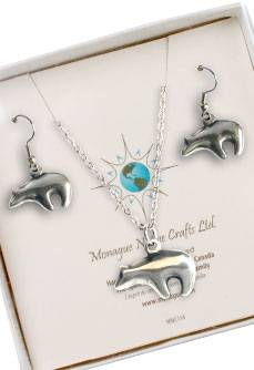 Bear Totem Earring and Necklace set