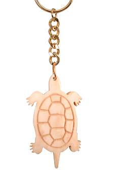 Carved Bone Turtle Totem Key Chain